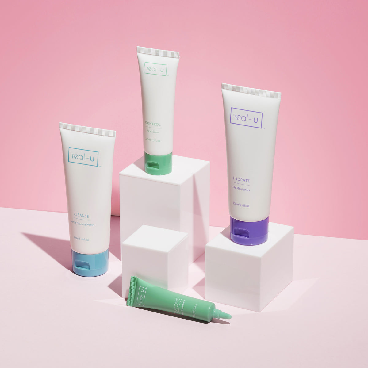 The real-u Luxe Kit contains everything you need to clear acne and pimples fast