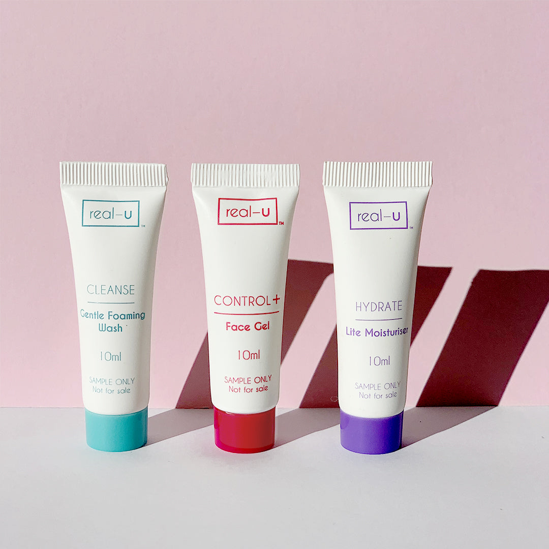 real-u Travel Kit. Acne skincare for trying, sampling and travelling
