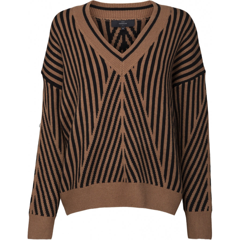 Peppercorn Saga V-Neck Knit Pullover 5050 TOFFEE