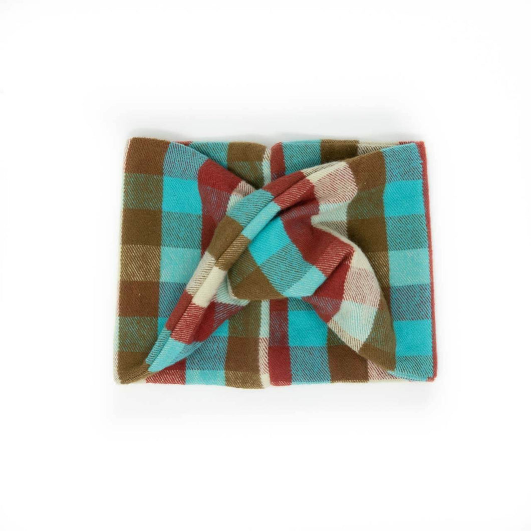 Twisted scarf - Chili and Teal plaid