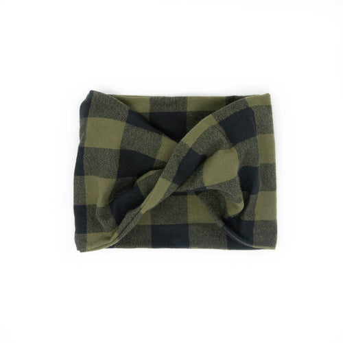 Twisted scarf - Olive buffalo check