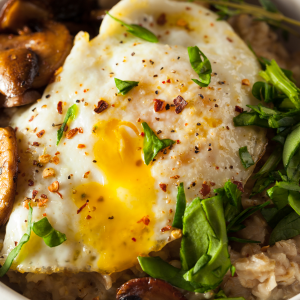 Savory Oatmeal with Mushrooms and Egg
