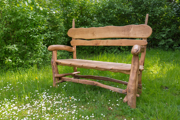 Large Rustic Salvaged Oak Garden Bench. Handmade in Wales, UK