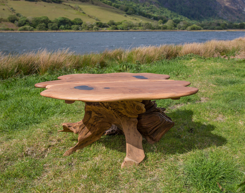 Rustic Salvaged Slate and Oak Stump Coffee Table. Handmade in Wales, UK.