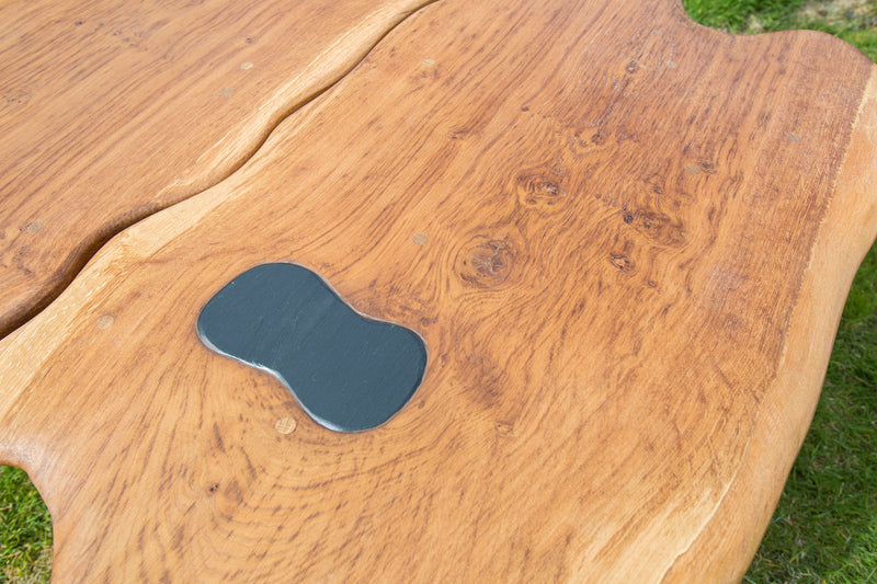 Rustic Salvaged Slate and Oak Stump Coffee Table. Handmade in Wales, UK. Detail of Slate and Grain.