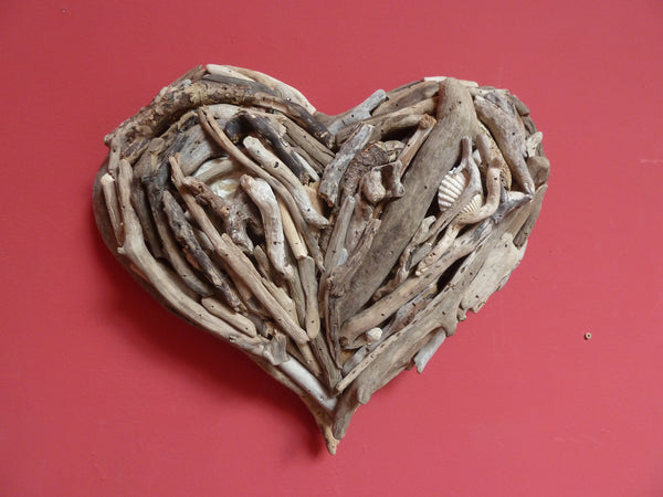 Handmade driftwood hearts made from locally sourced driftwood