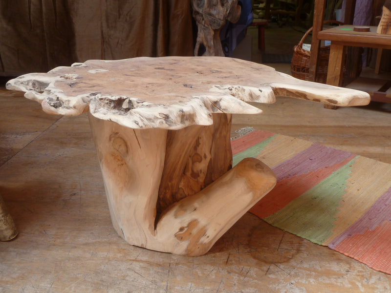 Rustic Handmade Yew Wood Stump Coffee Table