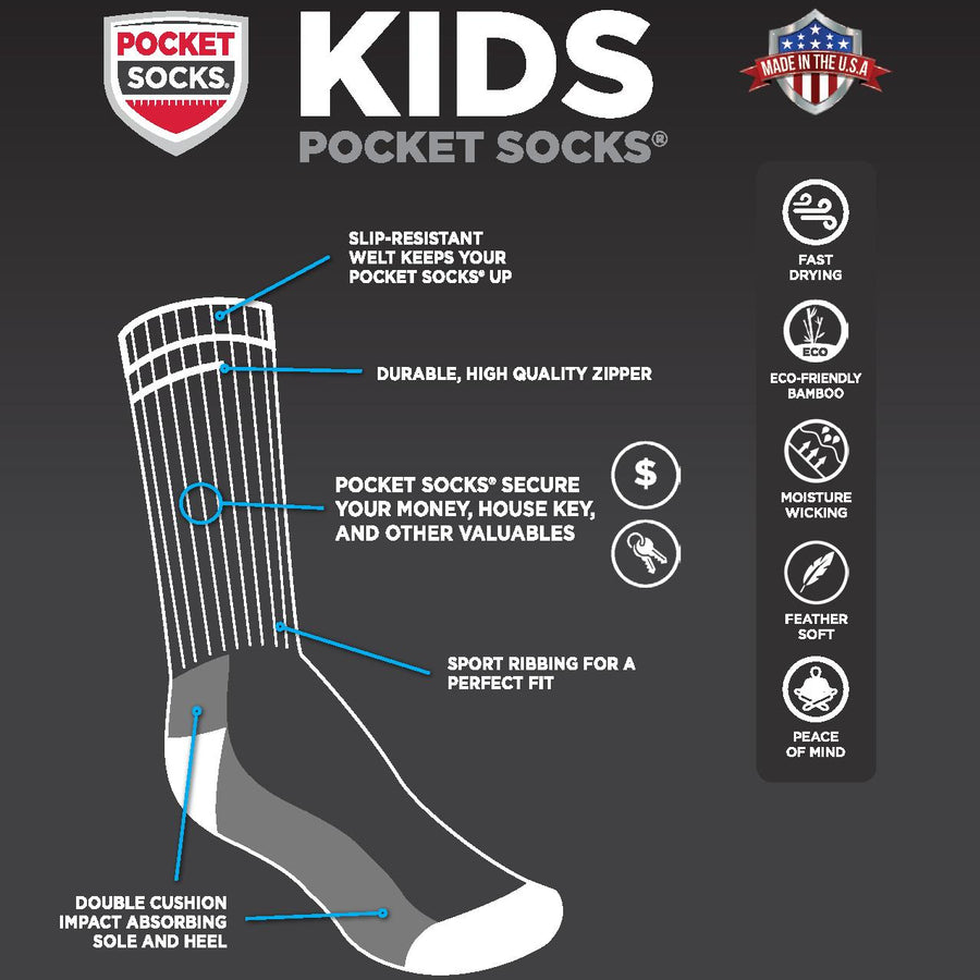 Kids Aqua Double Stripe, Pocket Socks