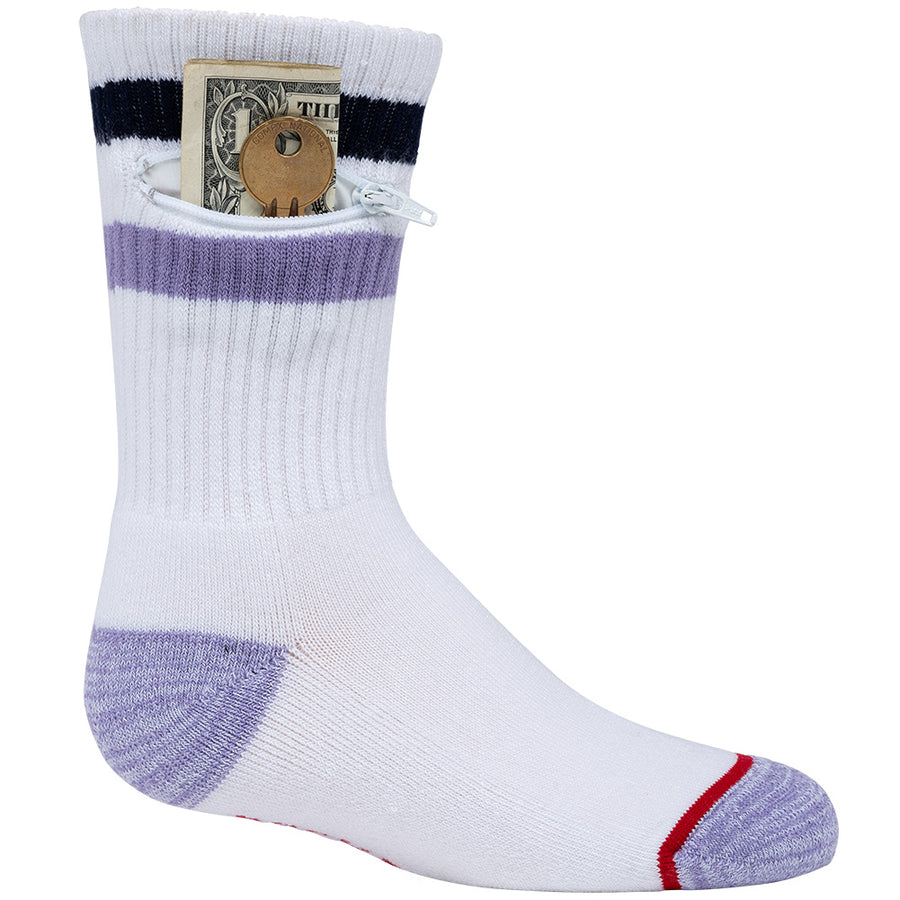 Kids Purple+Navy Stripes, Pocket Socks