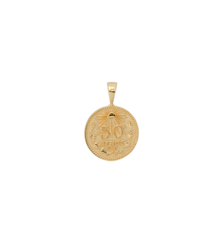 Peso coin necklace charm - Gold