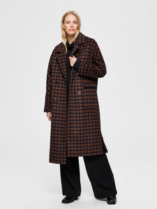 Slfelement check wool coat - martime blue check