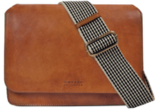 Afbeelding in Gallery-weergave laden, Audrey cognac classic leather checkered strap - cognac leather