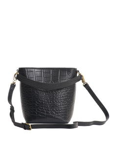 Bobbi bucket bag croco black classic leather - black