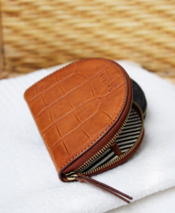 Laura's purse cognac croco classic leather - cognac