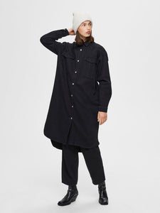 slfdora ls denim shirt - black denim