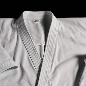 Close up image of Emiko Kawasaki performing Karate Kata with HAYATE Karate Gi - CF-1 Classic Kata Set