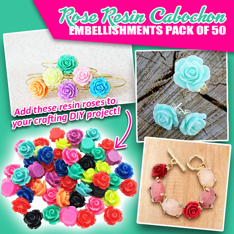 Rose Resin Cabochon Embellishments Pack of 50