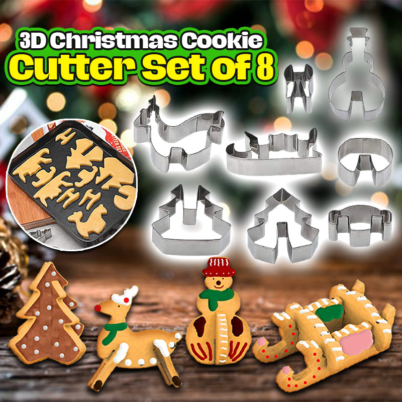 3D Christmas Cookie Cutter Set of 8