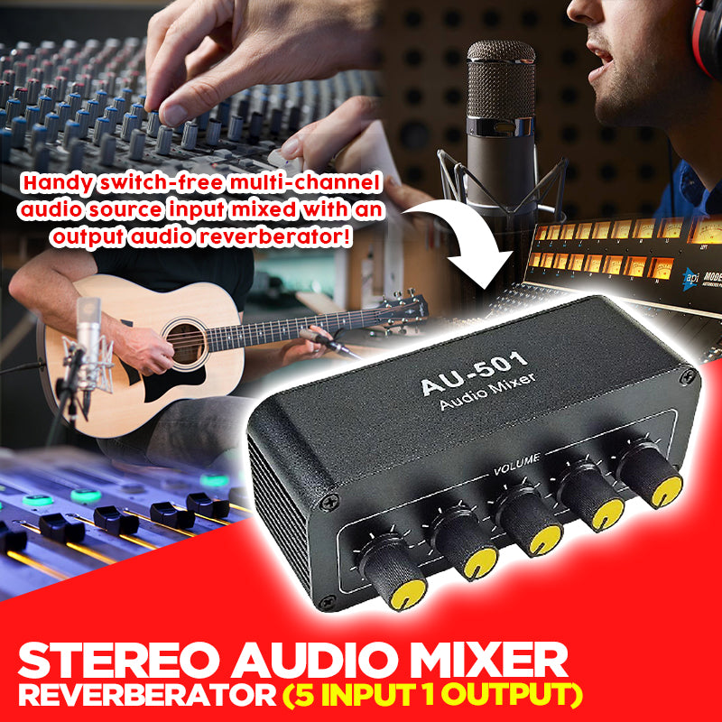 Stereo Audio Mixer Reverberator (5 Input 1 Output)