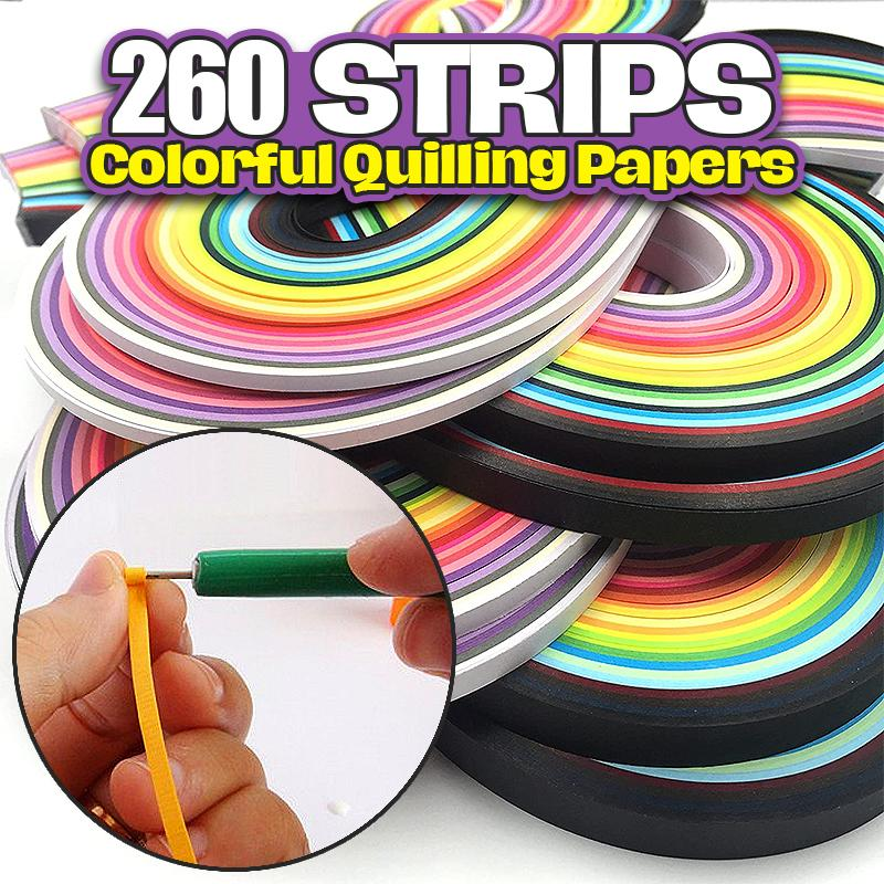 260 Strips Colorful Quilling Papers