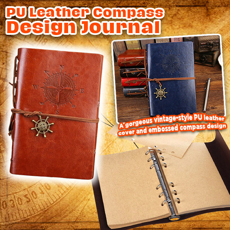 PU Leather Compass Design Journal