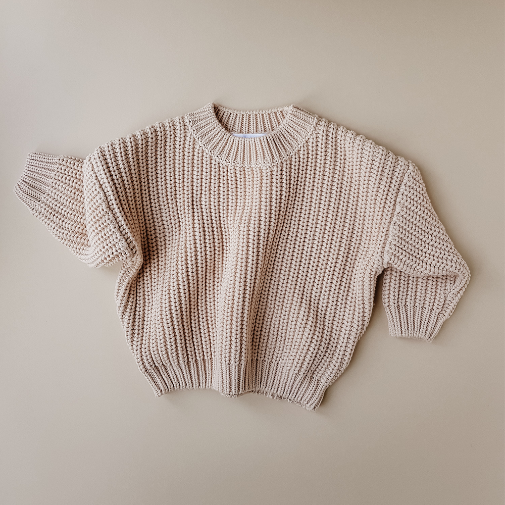 (PRE-ORDER) KIDS OF APRIL CHUNKY COTTON SWEATER ALMOND