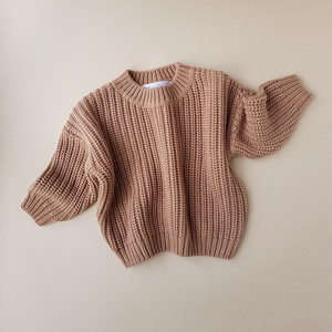 KIDS OF APRIL CHUNKY COTTON SWEATER TOFFEE