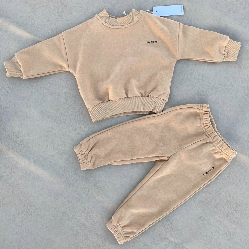 TINY TROVE WOODIE LOGO TRACKSUIT FAWN