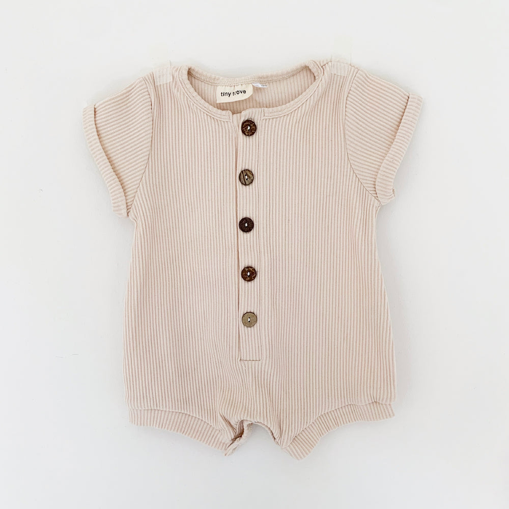 TINY TROVE ARTIE RIBBED PLAYSUIT CREAM