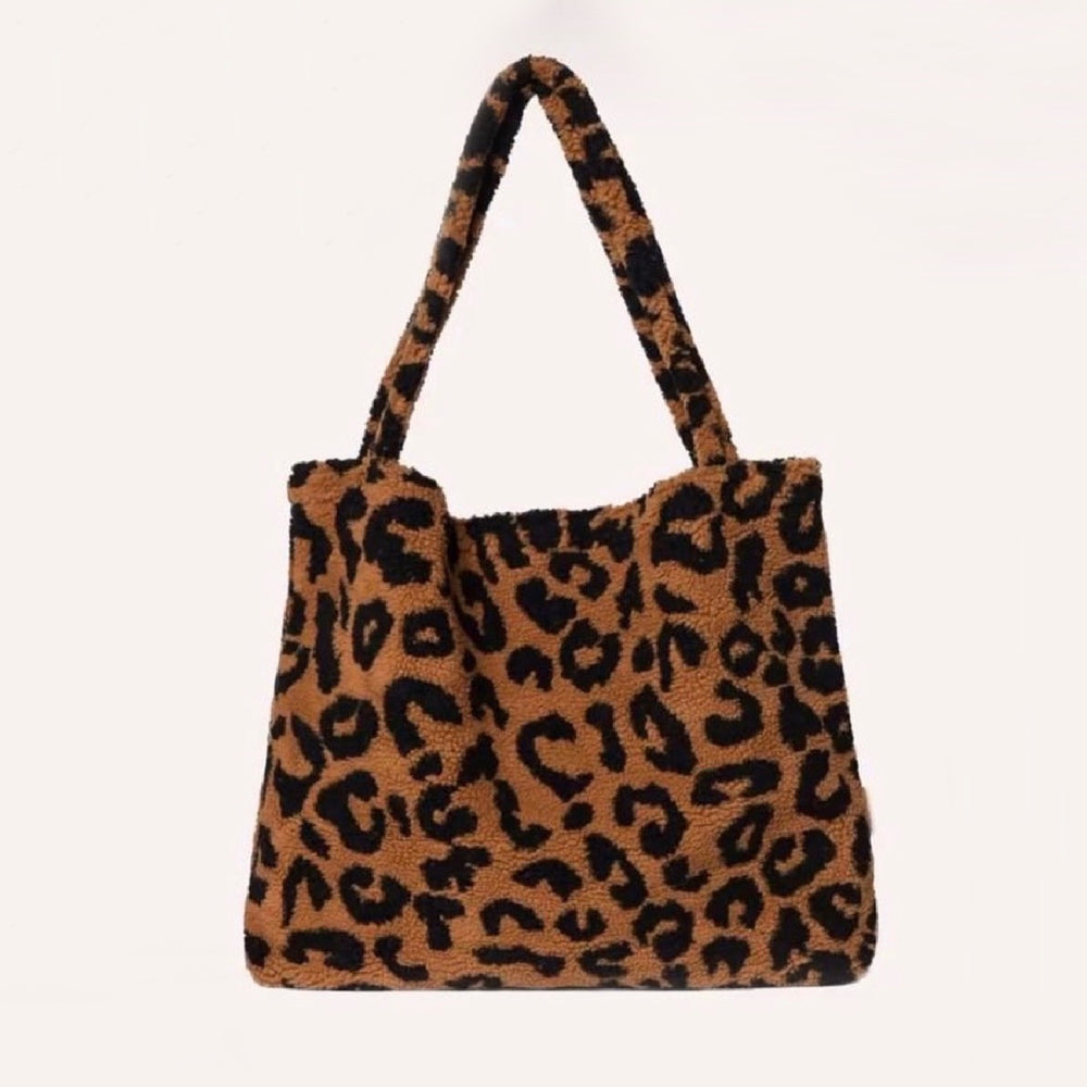 STUDIO NOOS TEDDY LEOPARD MUM-BAG BROWN