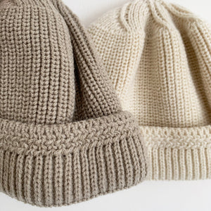 AOSTA KNITTED BEANIE HAT GREY/CREAM
