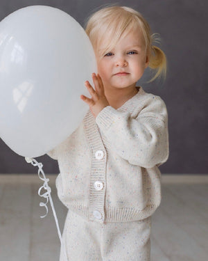 KIDS OF APRIL RAINBOW SPECKLE CARDIGAN NATURAL