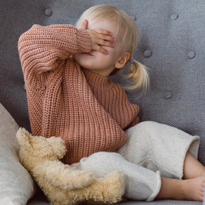 KIDS OF APRIL CHUNKY COTTON SWEATER TERRACOTTA