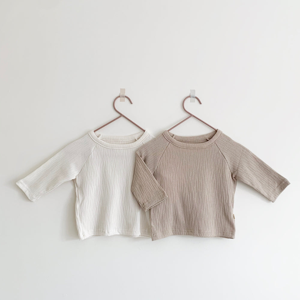 AOSTA LONG-SLEEVED TEXTURED TOP MILK/STONE