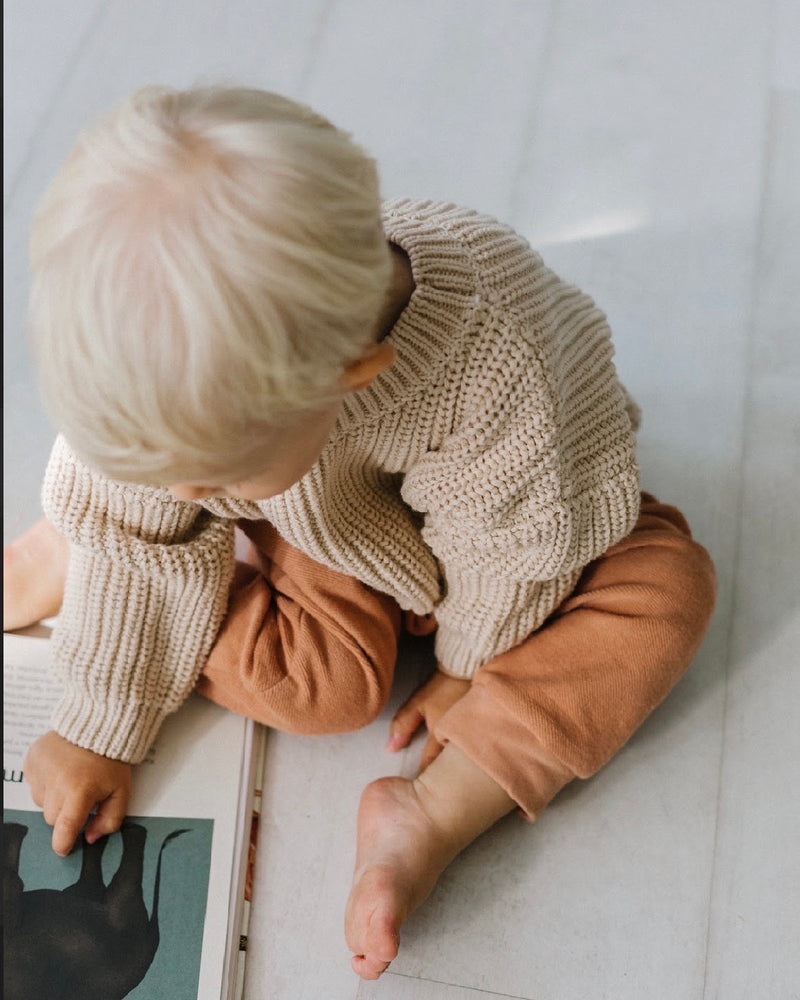 KIDS OF APRIL CHUNKY COTTON SWEATER ALMOND