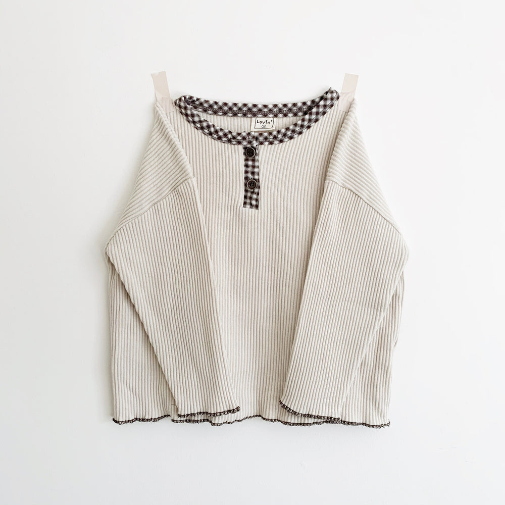 LOVIN' GINGHAM DETAIL TOP CREAM