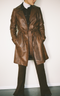 Marron Leather Trench