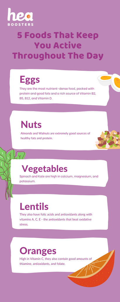 5 Foods That Keep You Active Throughout The Day infographic