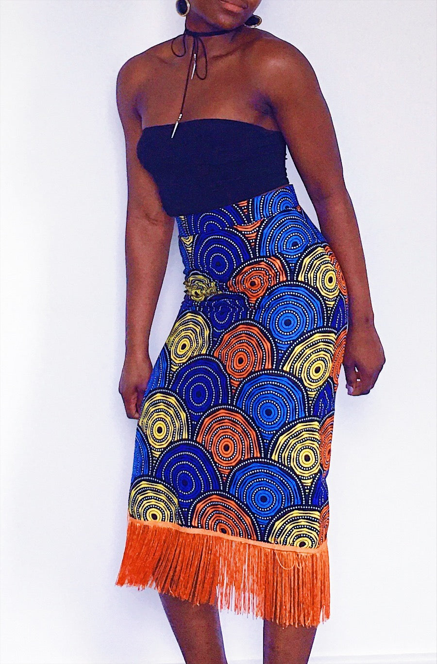 Oreke Midi Skirt in Orange