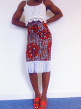 Load image into Gallery viewer, Oreke Midi Skirt in Red + White Fringe