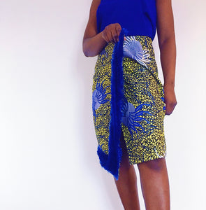 Olori Fur Trim Wrap Skirt