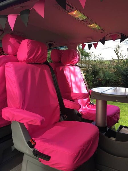 VW T5 Caravelle Tailored Waterproof Pink Seat Covers