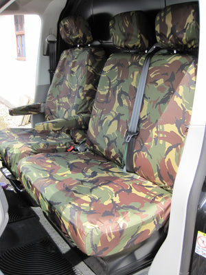 VW Volkswagen Transporter T5 2010 - 2015 Front Seat Covers Green Camouflage / Driver's & Double Passenger / With Armrests Turtle Covers Ltd