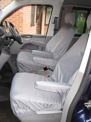 VW Volkswagen Transporter T5 2010 - 2015 Front Seat Covers Grey / Driver's & Single Passenger / With Armrests Turtle Covers Ltd