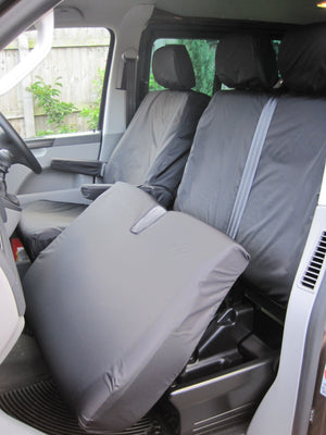 VW Volkswagen Transporter T5 2010 - 2015 Front Seat Covers Black / Driver's & Double Passenger / With Armrests Turtle Covers Ltd