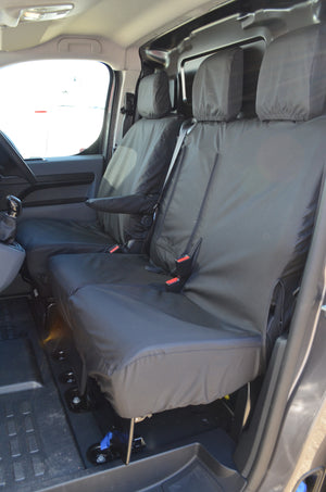 Citroen Dispatch 2016 Onwards Seat Covers Black / Enterprise Model (With Worktray) Turtle Covers Ltd