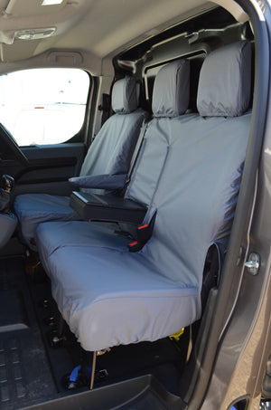 Vauxhall Vivaro 2019+ Seat Covers Grey / With Worktray Turtle Covers Ltd