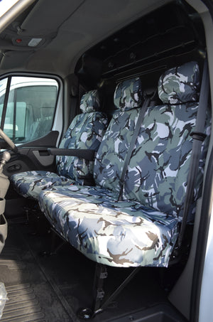 Nissan NV400 Van 2011 Onwards Tailored Front Seat Covers Urban Camo / Non-Folding Fixed Seat & Base Turtle Covers Ltd
