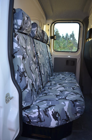 VW Crafter 2017+ Van Tailored & Waterproof Seat Covers Grey Camouflage / Rear Quad Turtle Covers Ltd