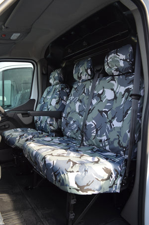 Vauxhall Movano Van 2010 Onwards Tailored Front Seat Covers Urban Camo / Non-Folding Fixed Seat & Base Turtle Covers Ltd
